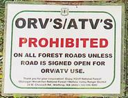 ORVs/ATVs Prohibited